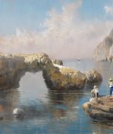 Pescatori sullo scoglio delle sirene a Capri, 1886, tm, 35.6 x 53